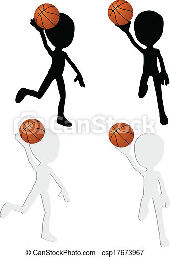 basketball players silhouette collection in slam position - csp17673967