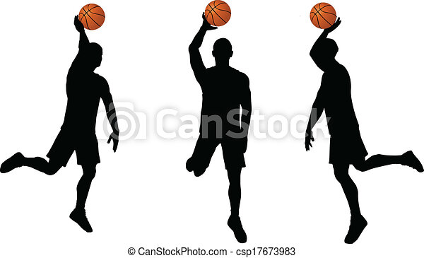 basketball players silhouette collection in slam position - csp17673983