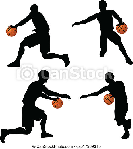 eps 10 vector basketball players silhouette collection in vector rh canstockphoto com basketball player clipart png baseball players clip art