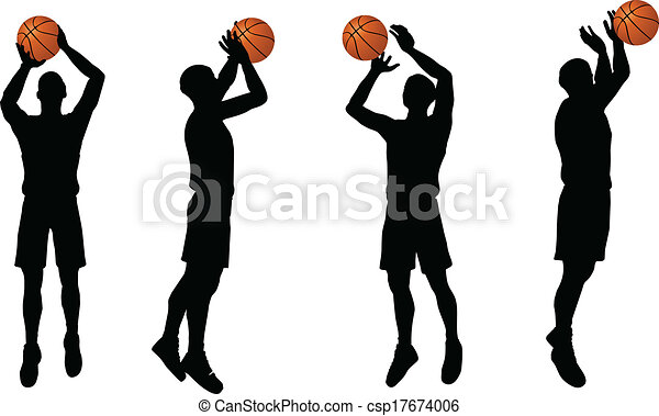 basketball players silhouette collection in shoot position - csp17674006