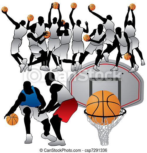 basketball players silhouettes set clip art vector search drawings rh canstockphoto com basketball player clipart images basketball players clipart