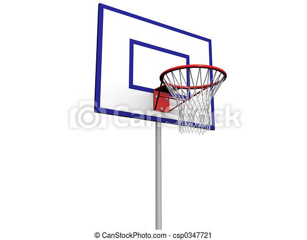 Basketball pole. 3d image of a basketball hoop with net on a backboard. e1d823811