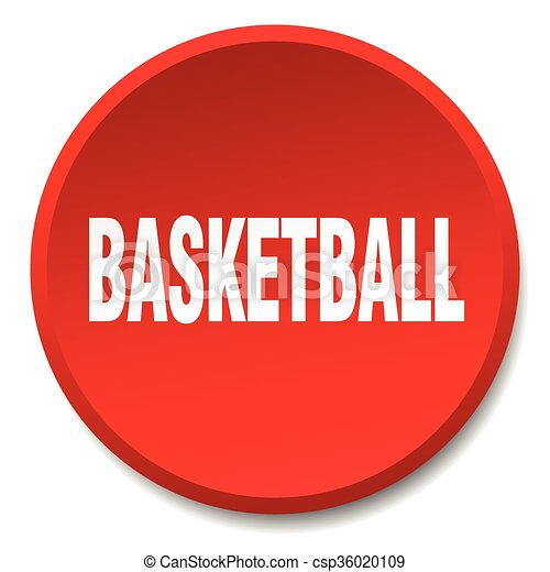 basketball red round flat isolated push button - csp36020109