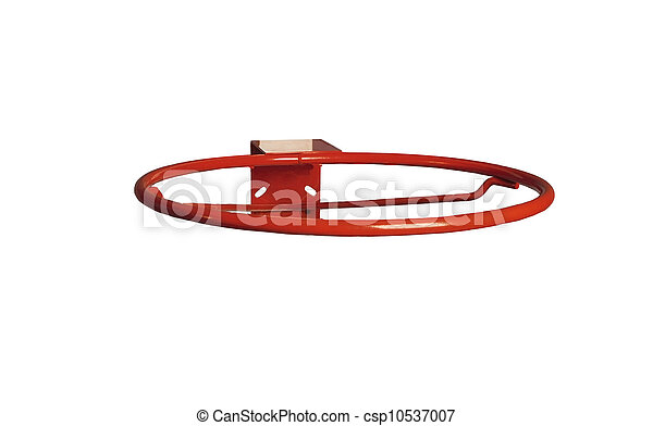 Basketball ring without net on white background - csp10537007