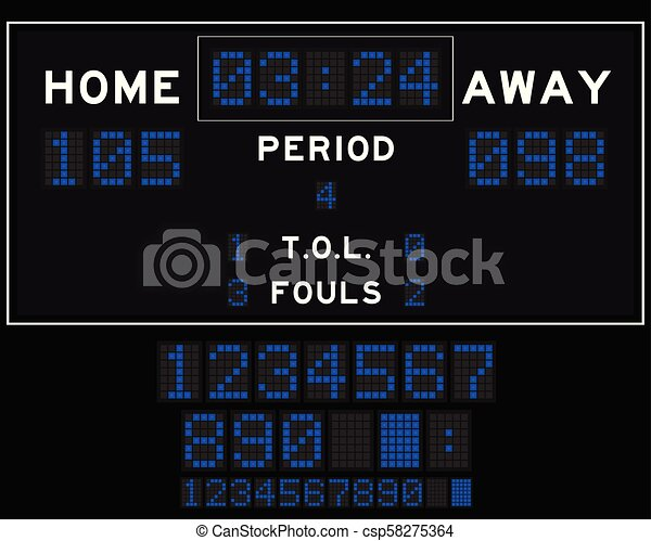Basketball score board with blue square led on black background - csp58275364