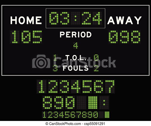 Basketball score board with green square led on black background - csp55091291