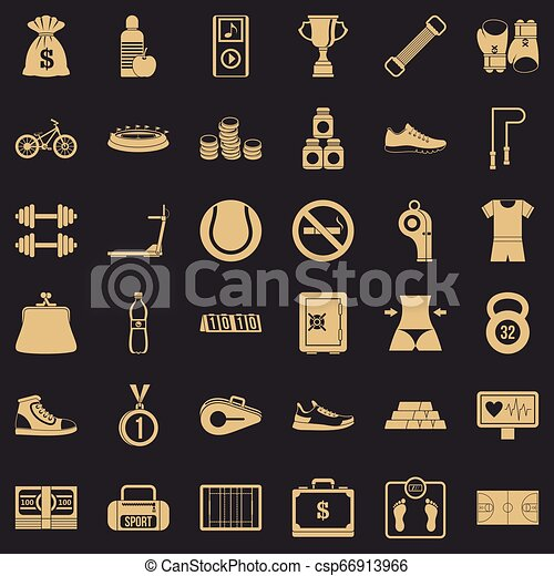 Basketball score icons set, simple style - csp66913966