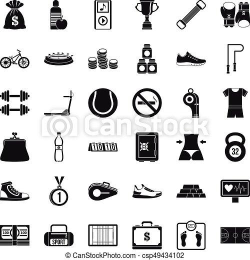 Basketball score icons set, simple style - csp49434102