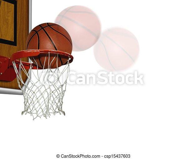 Basketball score shoot over white - csp15437603
