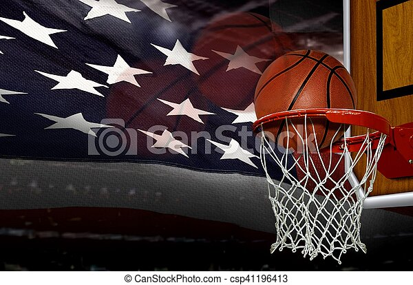 Basketball score shoot with American flag background - csp41196413