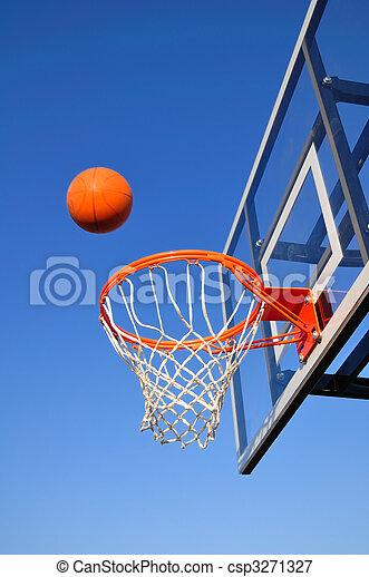 Basketball Shot Heading Toward the Hoop, Blue Sky - csp3271327