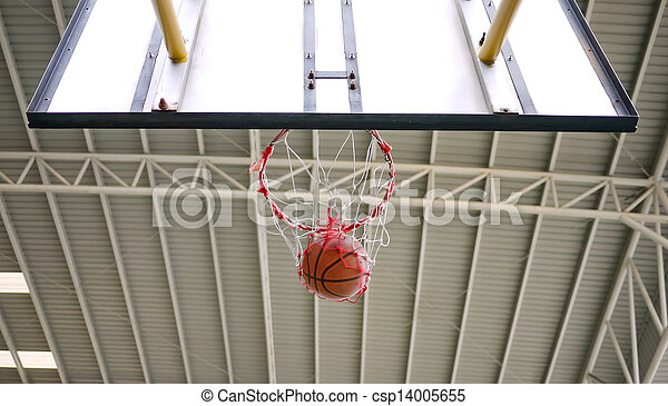 Basketball shot through the hoop - csp14005655