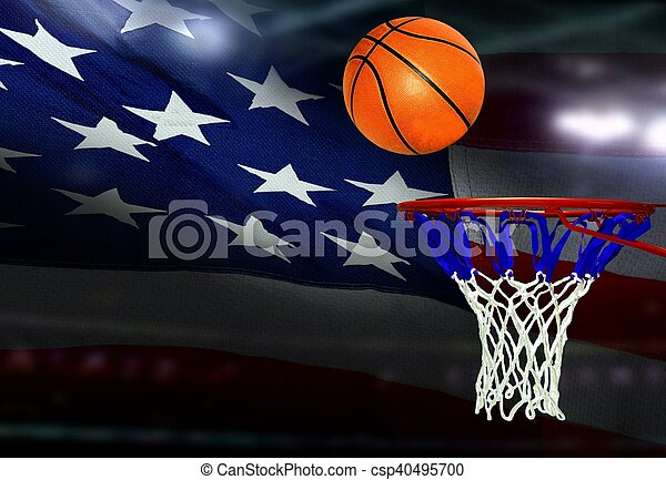 Basketball shot to the hoop with American flag background - csp40495700