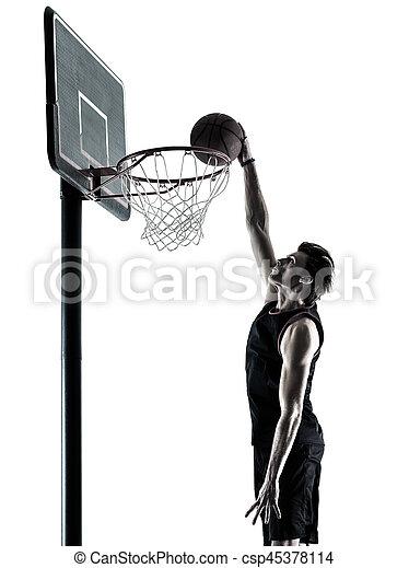 basketball, silhouette, freigestellt, spieler, schatten, mann - csp45378114