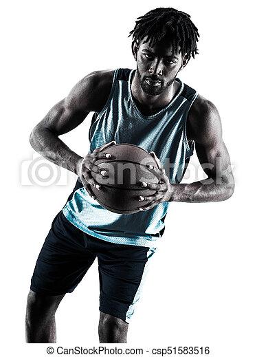 Basketball-Spieler-Mann isolierte Silhouette Schatten - csp51583516