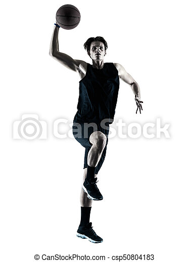 basketball, silhouette, freigestellt, spieler, schatten, mann - csp50804183