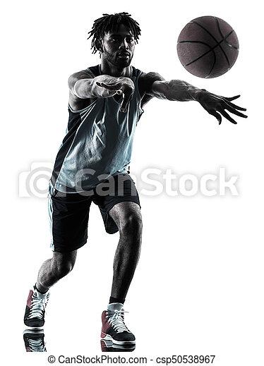 Basketball-Spieler-Mann isolierte Silhouette Schatten - csp50538967