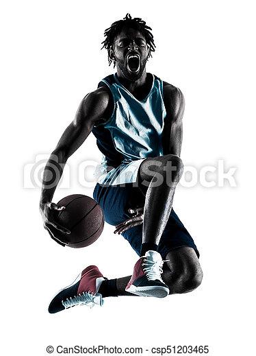 basketball, silhouette, freigestellt, spieler, schatten, mann - csp51203465