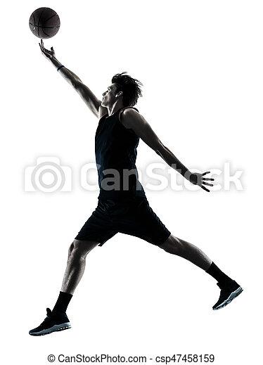 Basketball-Spieler-Mann isolierte Silhouette Schatten - csp47458159