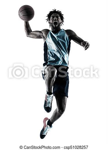 Basketball-Spieler-Mann isolierte Silhouette Schatten - csp51028257