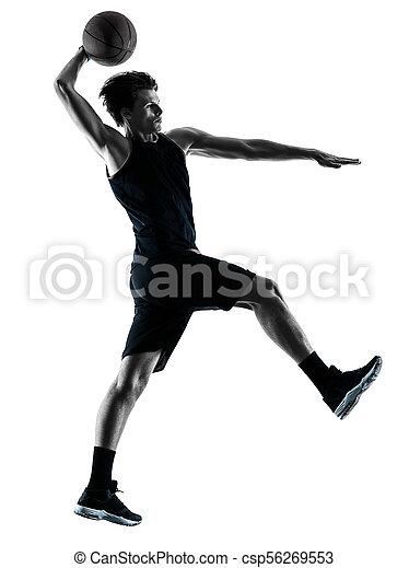 Basketball-Spieler-Mann isolierte Silhouette Schatten - csp56269553