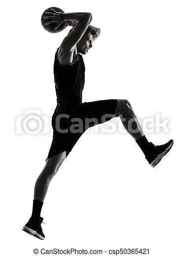 basketball, silhouette, freigestellt, spieler, schatten, mann - csp50365421