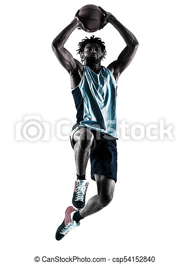Basketball-Spieler-Mann isolierte Silhouette Schatten - csp54152840