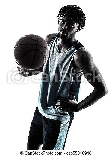 basketball, silhouette, freigestellt, spieler, schatten, mann - csp55040946