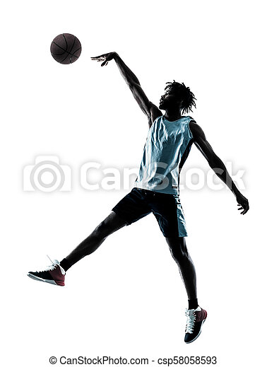 basketball, silhouette, freigestellt, spieler, schatten, mann - csp58058593