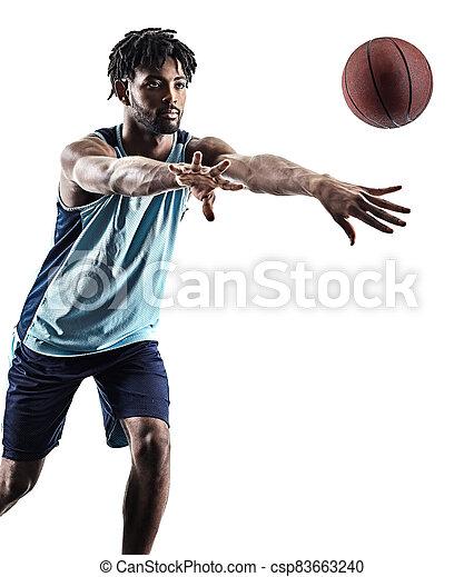 basketball, silhouette, schatten, freigestellt, spieler, mann - csp83663240