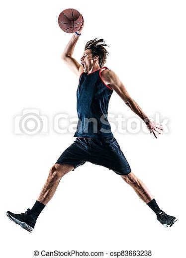 basketball, silhouette, schatten, freigestellt, spieler, mann - csp83663238