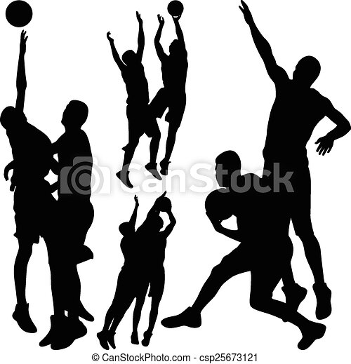 basketball silhouette vector basketball players in action vector rh canstockphoto com basketball team silhouette vector basketball team silhouette vector