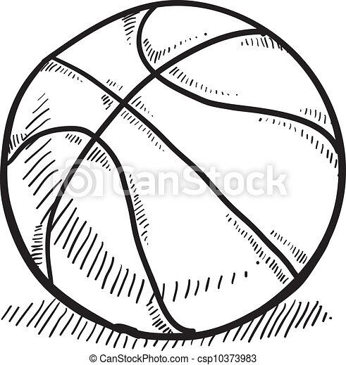 Basketball Sketch Doodle Style Basketball Vector