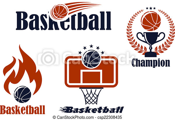 Basketball sport team emblems and symbols - csp22308435