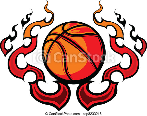 Basketball Template with Flames Vec - csp8233216