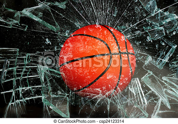 Basketball through glass. - csp24123314