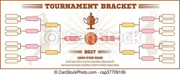 Basketball tournament bracket vector mockup - csp37709106