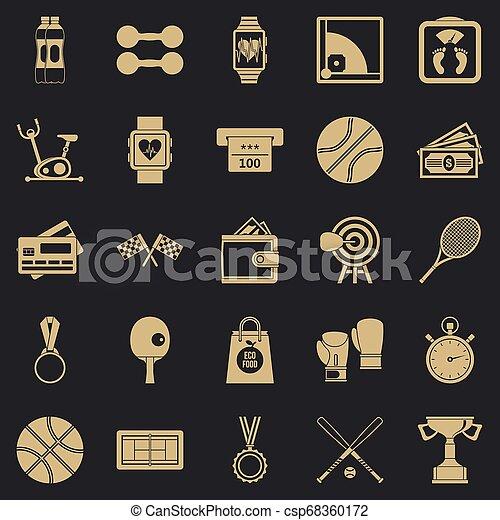 Basketball training icons set, simple style - csp68360172