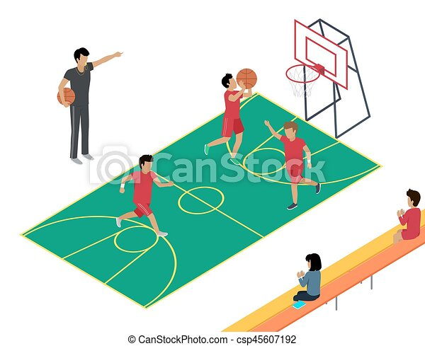 basketball training with three players and coach basketball eps rh canstockphoto com