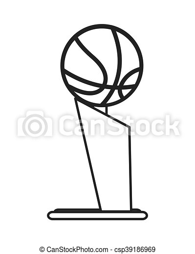 Flat Design Basketball Trophy Icon Vector Illustration
