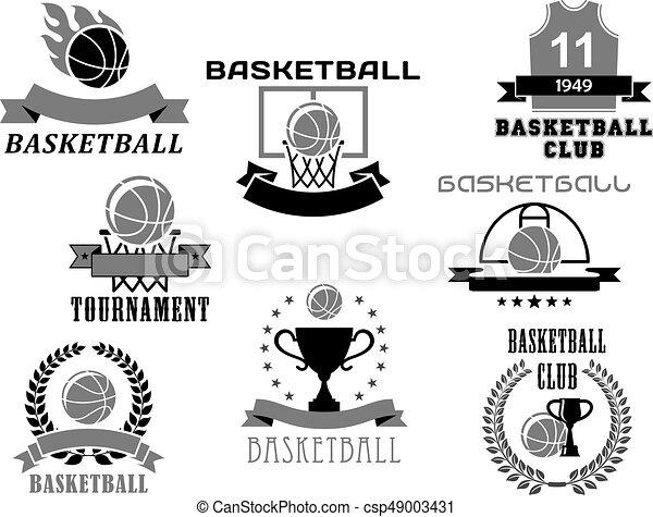Basketball Vector Icons Set For Club Championship Basketball Club