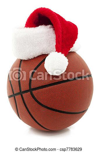 Basketball with Santa Hat - csp7783629