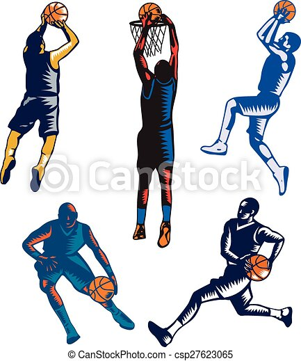 Basketball Woodcut Collection - csp27623065