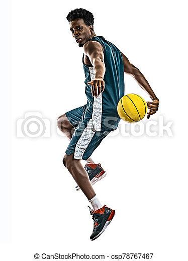 basketballspieler, mann, weißer hintergrund, afrikanisch, freigestellt, junger - csp78767467