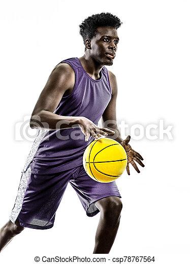basketballspieler, mann, weißer hintergrund, afrikanisch, freigestellt, junger - csp78767564