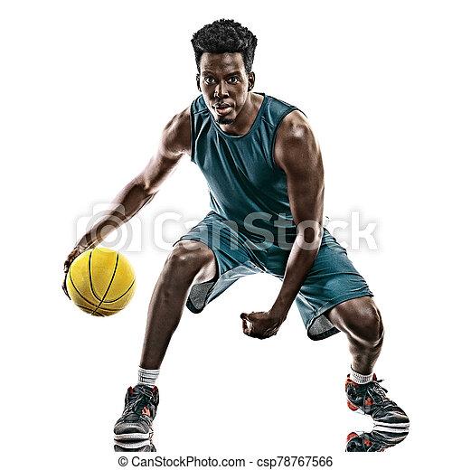 basketballspieler, mann, weißer hintergrund, afrikanisch, freigestellt, junger - csp78767566