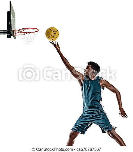 basketballspieler, mann, weißer hintergrund, afrikanisch, freigestellt, junger - csp78767567