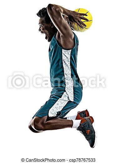 basketballspieler, mann, weißer hintergrund, afrikanisch, freigestellt, junger - csp78767533
