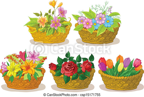 baskets with flowers set wattled basket with flowers alstroemeria