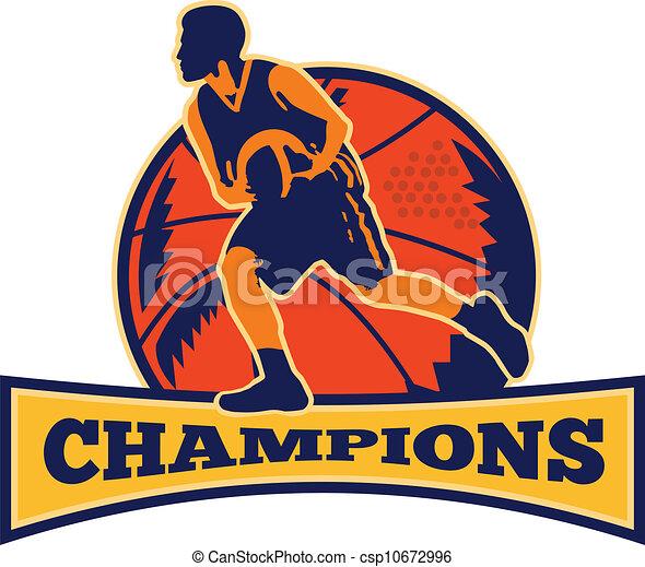basquetebol, driblar, jogador, bola, retro, campeões - csp10672996